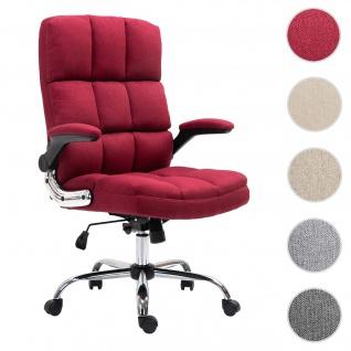 Bürostuhl HWC-J21, Chefsessel Drehstuhl Schreibtischstuhl, höhenverstellbar ~ Stoff/Textil weinrot