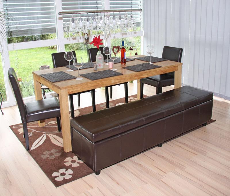 Garnitur Sitzgruppe Bank Mit Aufbewahrung Kriens L 4 Stühle Littau Leder Braun 1