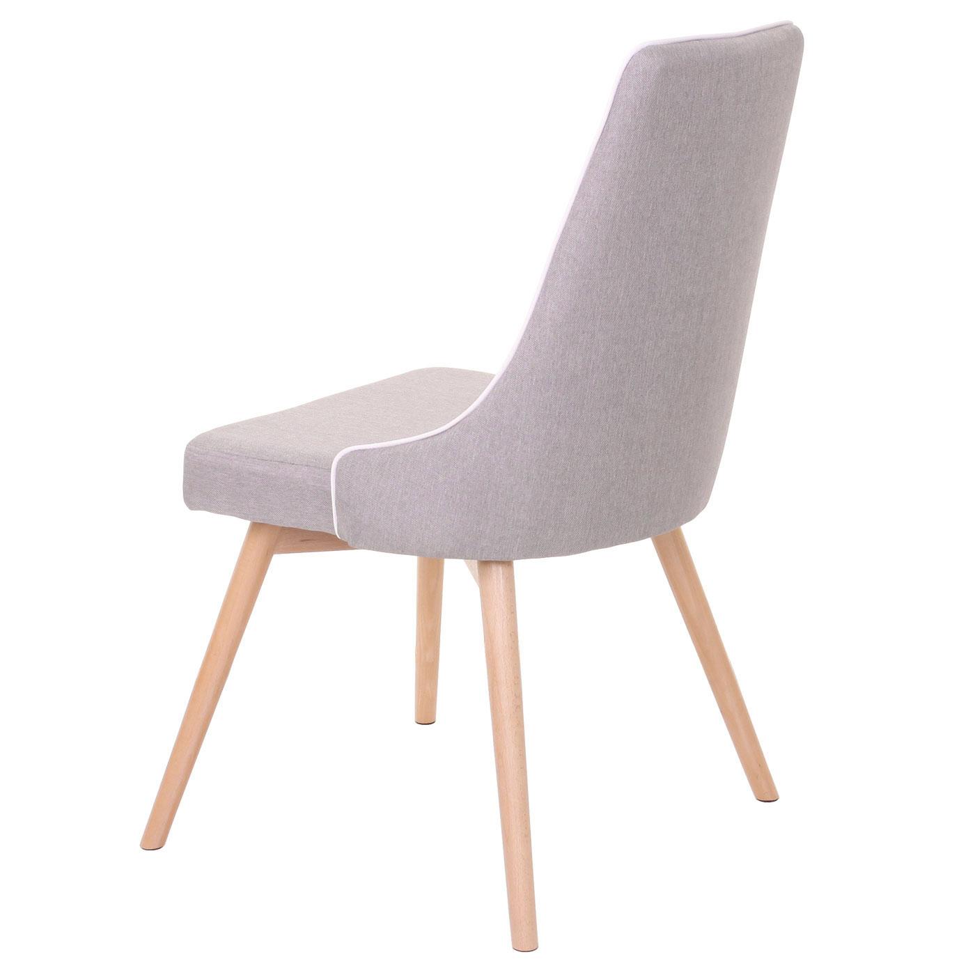 2x Esszimmerstuhl HWC B44, Stuhl Küchenstuhl, Retro 50er Jahre Design StoffTextil grau