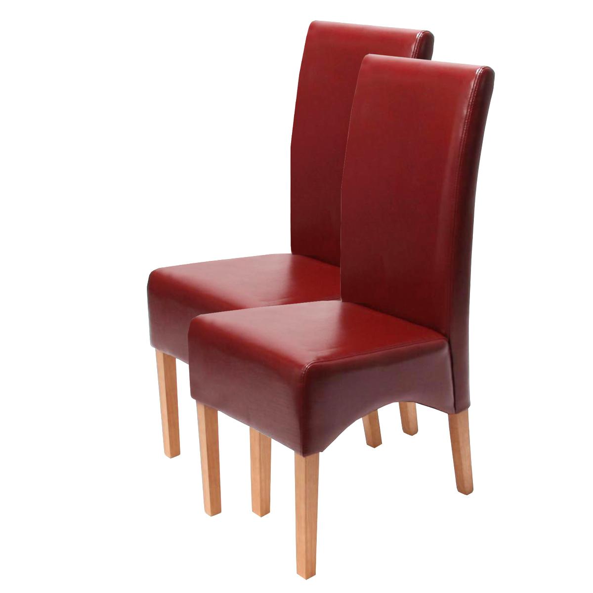 2x Esszimmerstuhl Latina, LEDER rot, helle Beine