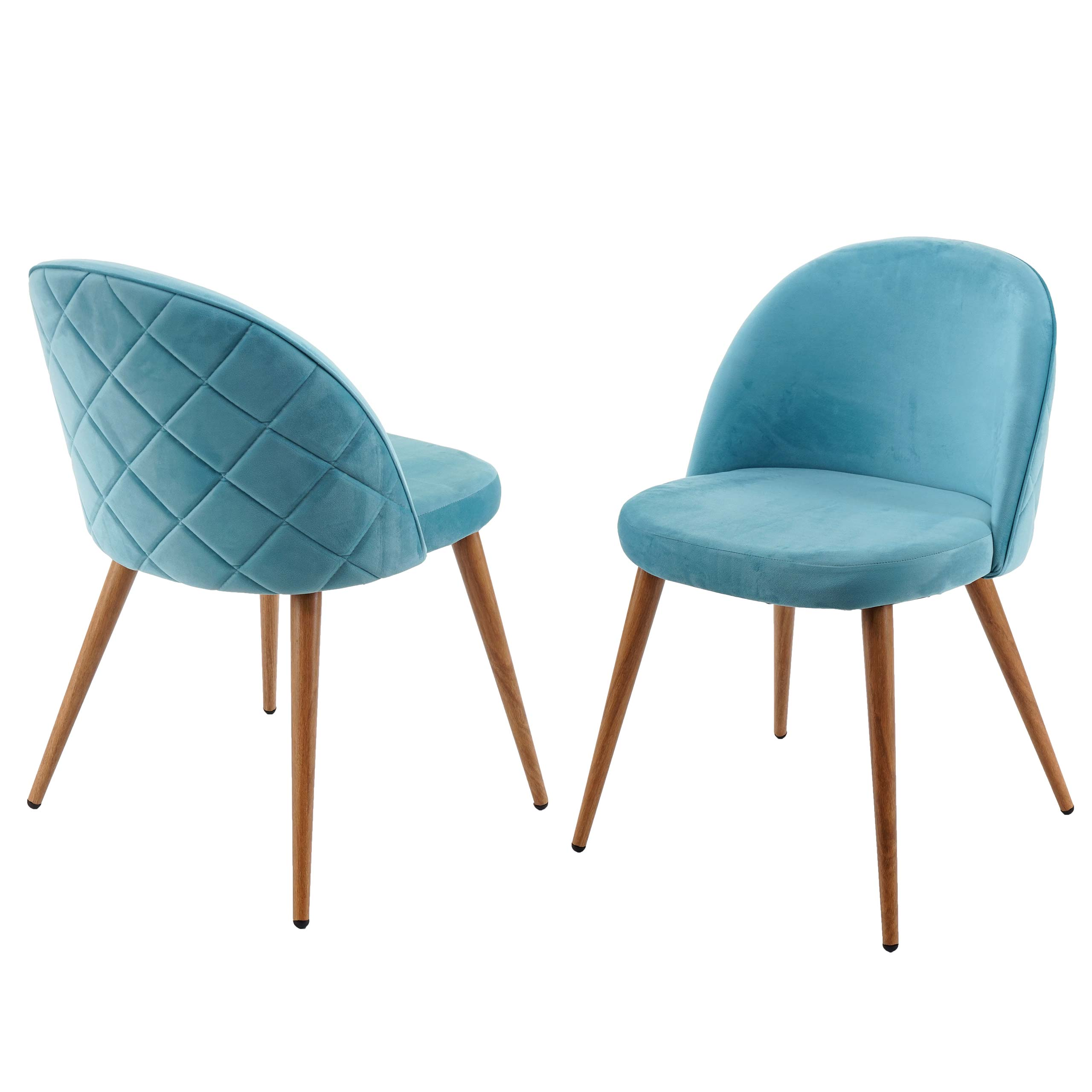 Mendler 2X Esszimmerstuhl HWC-D53, Stuhl Küchenstuhl Retro 50er Jahre Design, Samt ' türkis