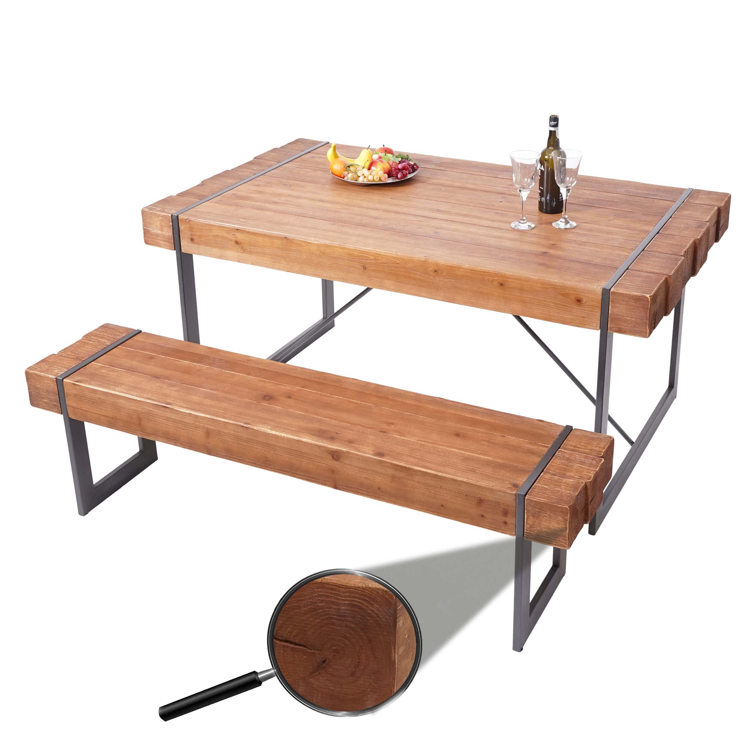 Esszimmergarnitur Hwc A15 Esstisch 1x Sitzbank Tanne Holz Rustikal Massiv Kaufen Bei Mendler Vertriebs Gmbh