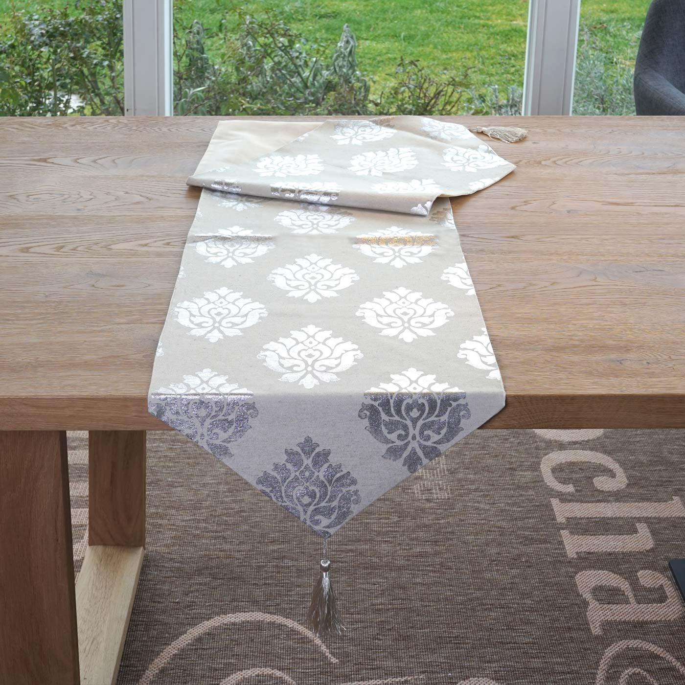 tischl ufer barock tischdecke tischdeko mitteldecke beige silber glanz effekt 180x33cm. Black Bedroom Furniture Sets. Home Design Ideas