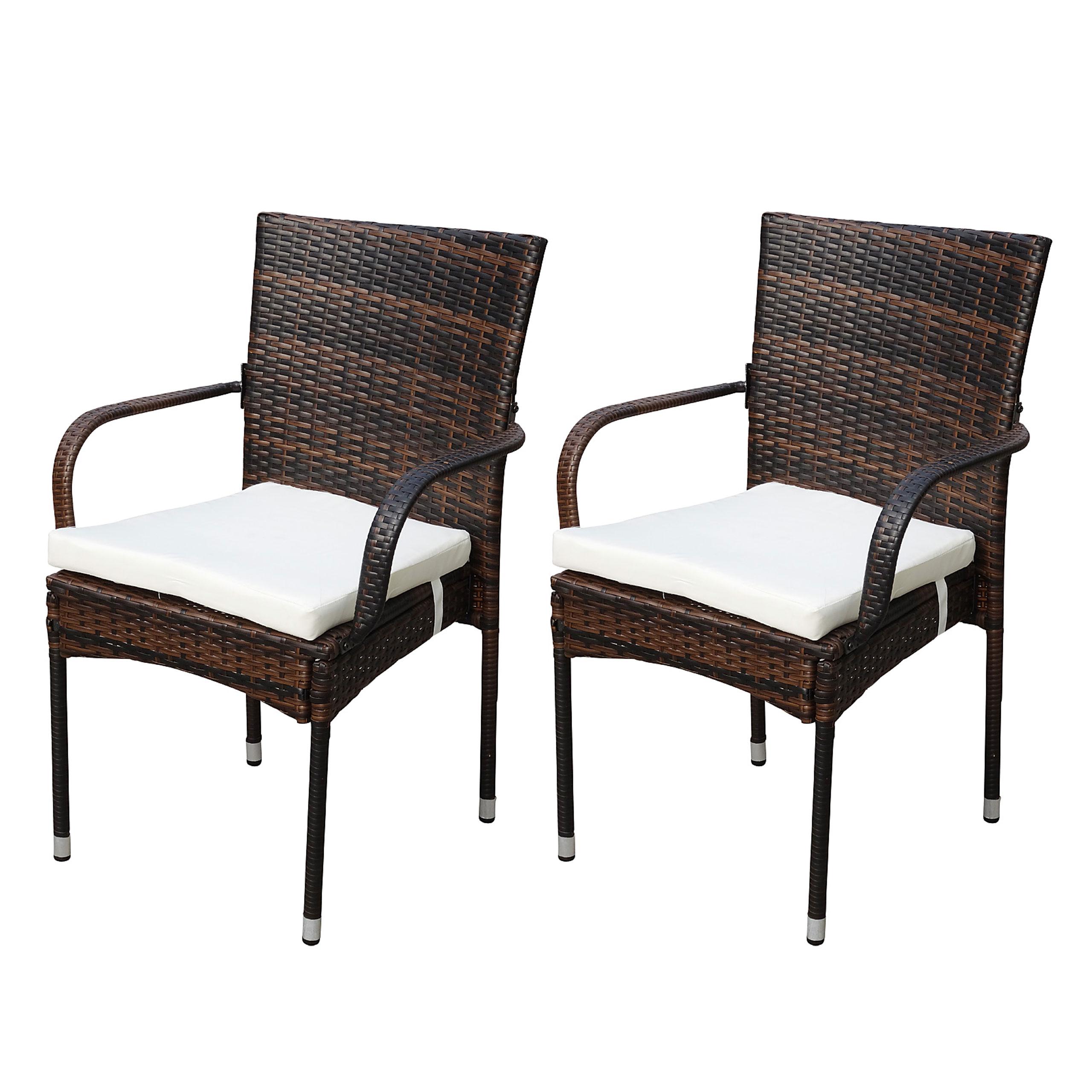 Gartenstühle rattan braun  2x Poly-Rattan Gartenstuhl Ariana, Stapelstuhl braun - Kaufen bei ...