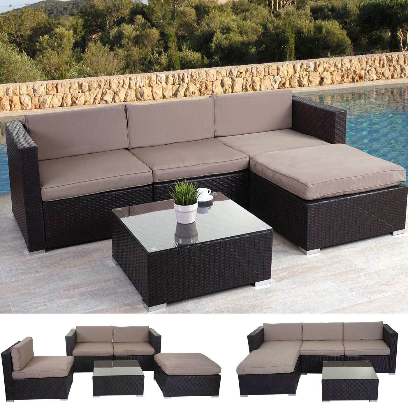 Rattan lounge set braun  Poly-Rattan-Garnitur Brindisi, Gartengarnitur Sitzgruppe Lounge-Set ...