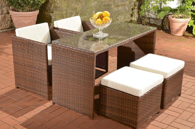 Rattan lounge set braun  Poly-Rattan Sitzgruppe CP409, Gartengarnitur Lounge-Set braun ...