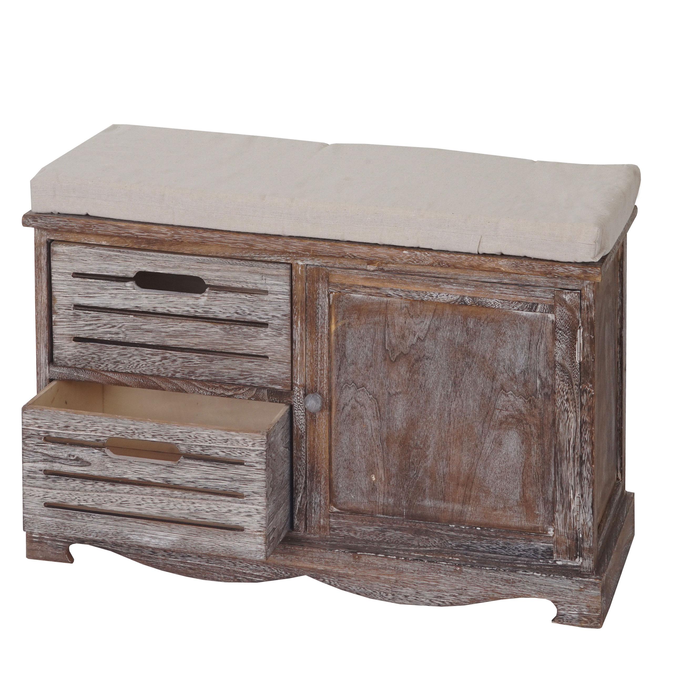 Sitzbank Ascoli Bank Kommode Shabby Look Vintage 49x71x32cm Braun