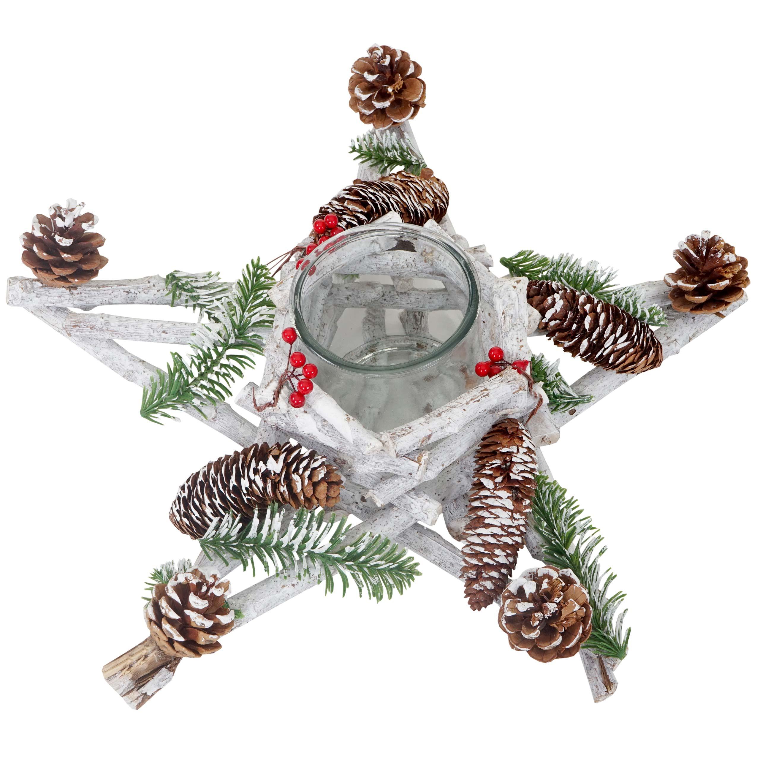 adventskranz stern weihnachtsdeko tischdeko holz mit. Black Bedroom Furniture Sets. Home Design Ideas