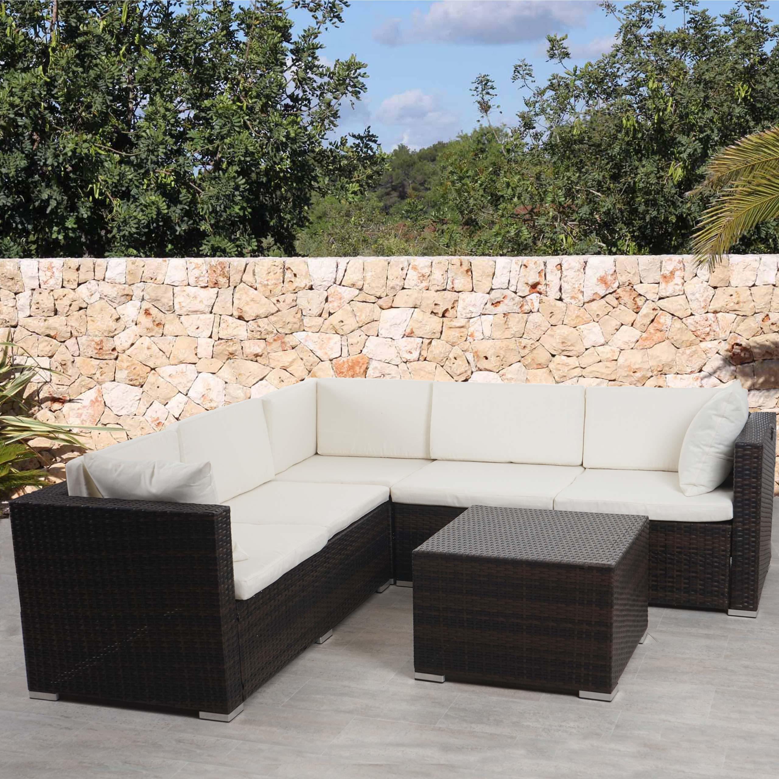 Poly-Rattan Sofa-Garnitur ROM Basic, Sitzgruppe Lounge-Set, Alu ...