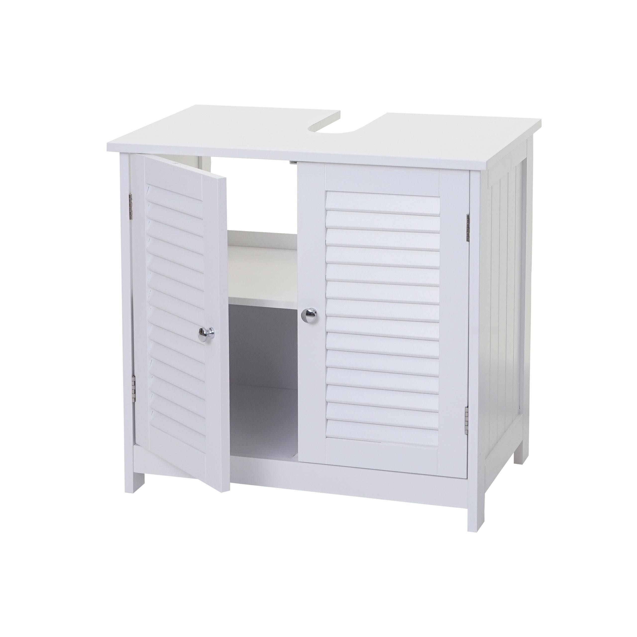 Waschbeckenunterschrank HWC-C66, Badezimmer Badschrank, 59x60cm weiß