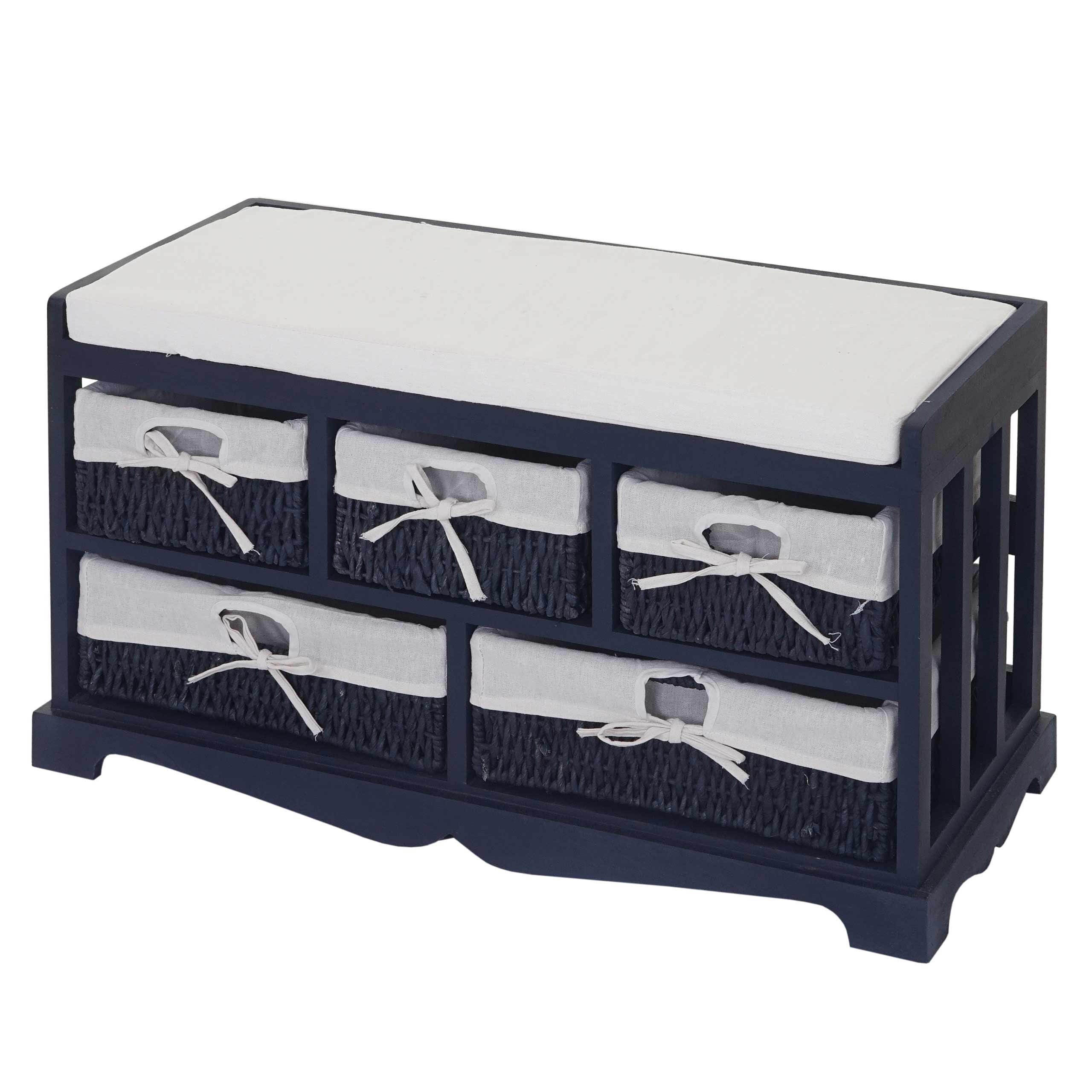 kommode und sitzbank mit 5 schubladen, 77x45x36cm, shabby-look