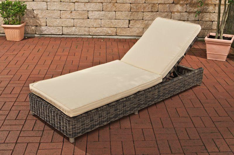 Poly Rattan Sonnenliege Cp413 Gartenliege Relaxliege Grau Meliert