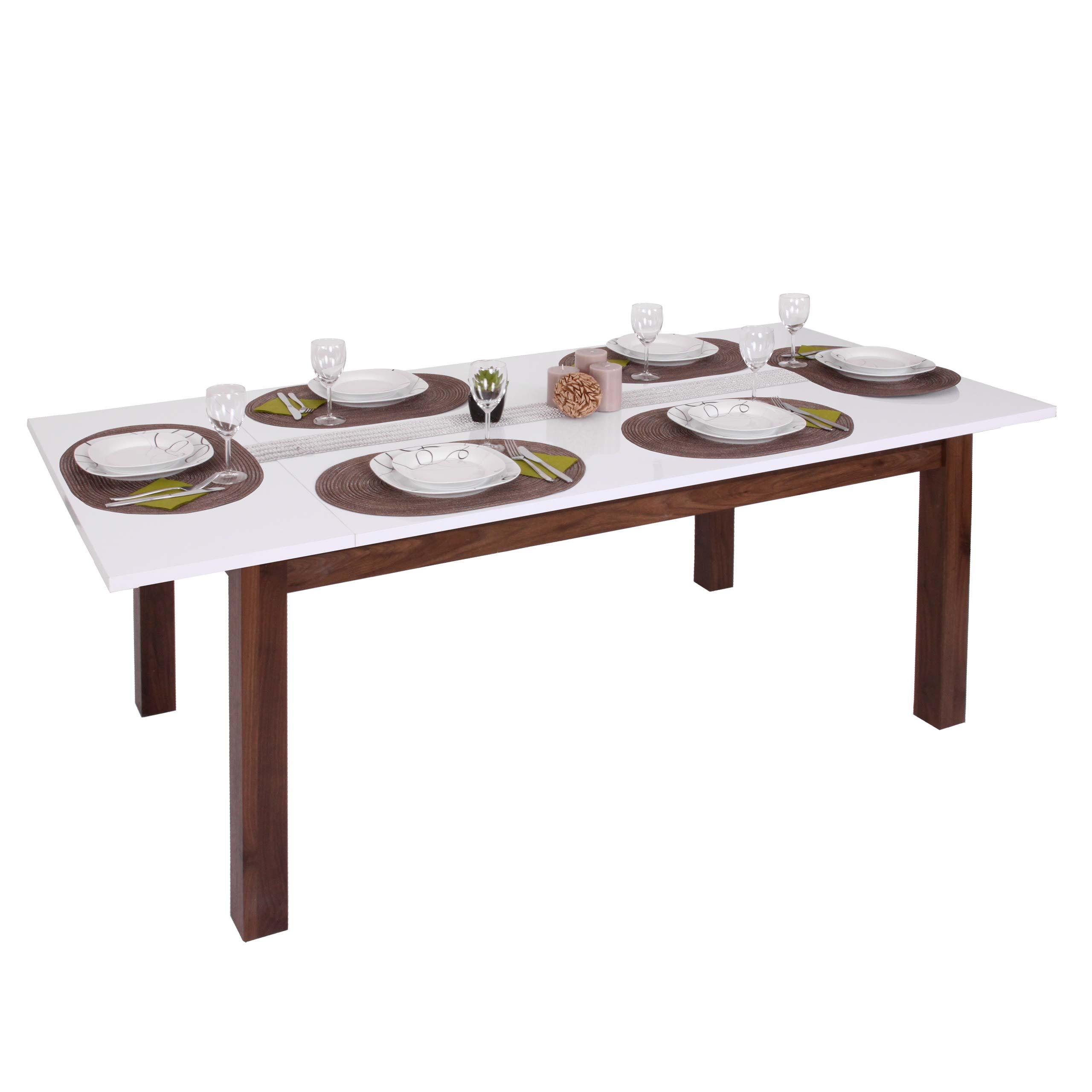 Esstisch Hwc B51 Esszimmertisch Tisch Ausziehbar Hochglanz Walnuss Optik 160 200x90cm