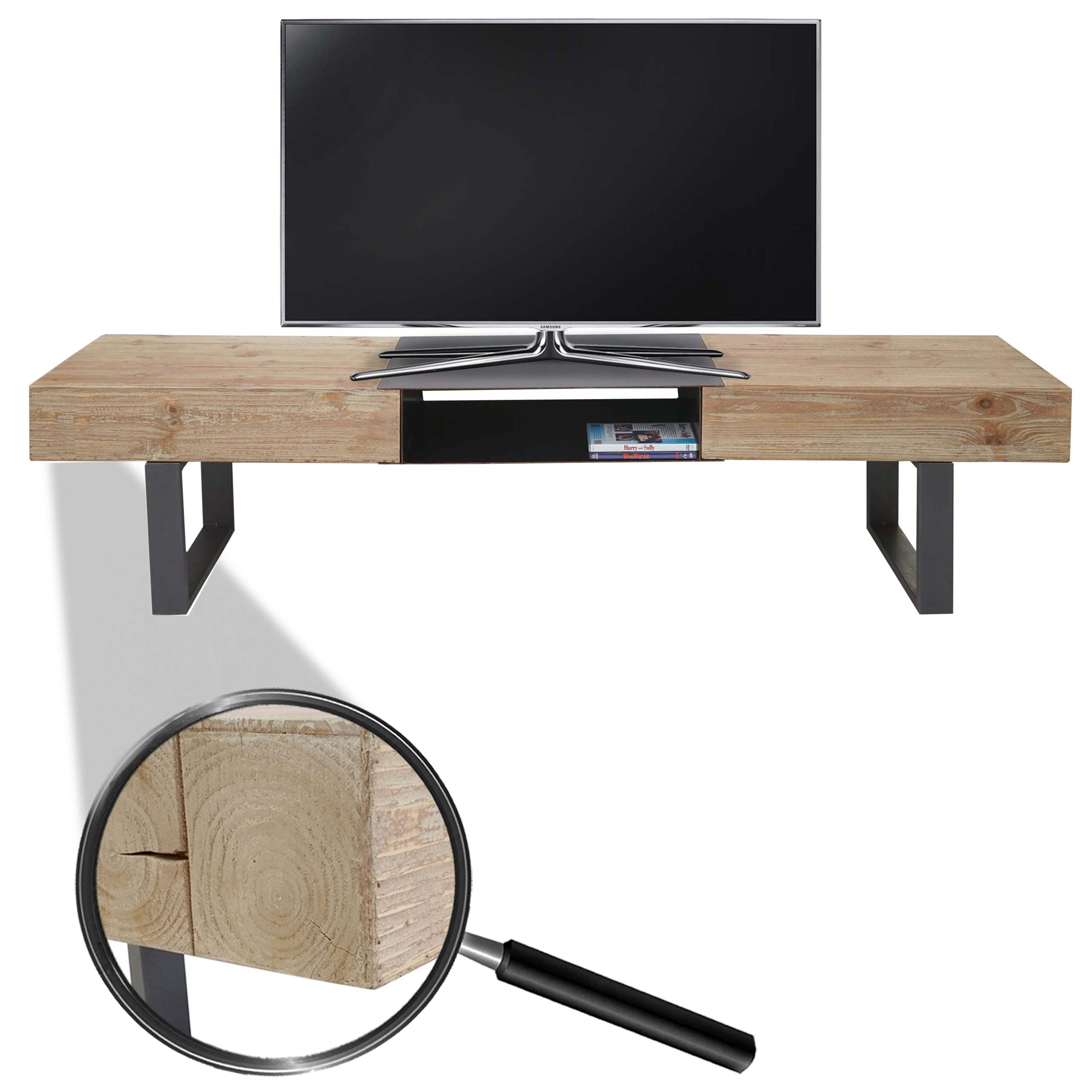 tv rack hwc a15 fernsehtisch tanne holz rustikal massiv 46x180x41cm 1
