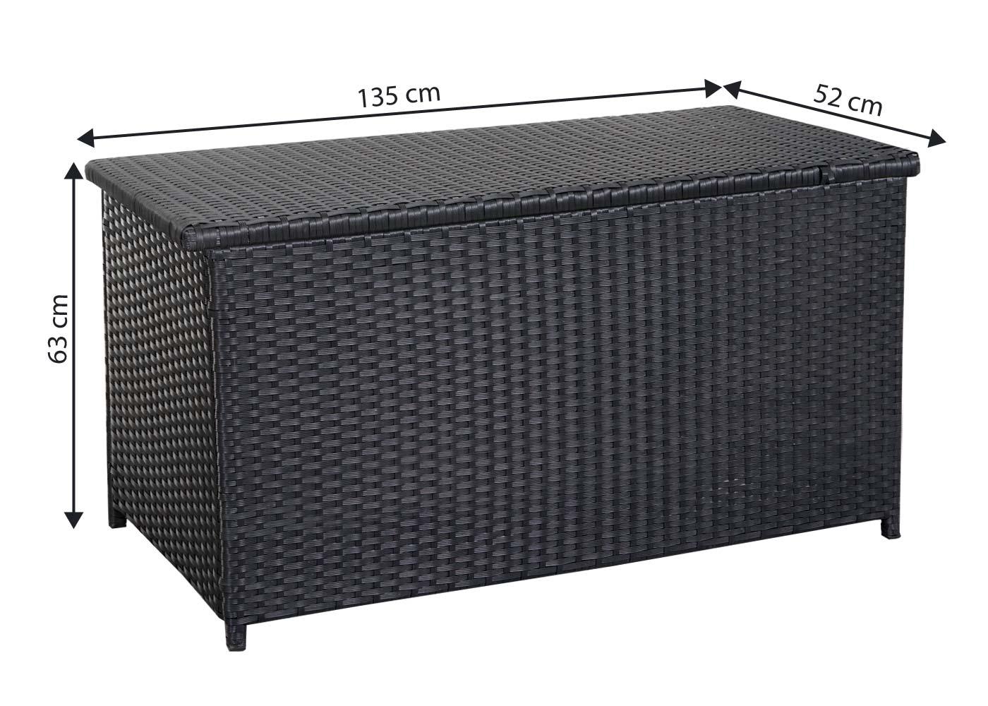 Poly-Rattan Poly-Rattan Poly-Rattan Kissenbox HWC-D43, Truhe Auflagenbox Gartentruhe, 63x135x52cm 290l dc4f5e