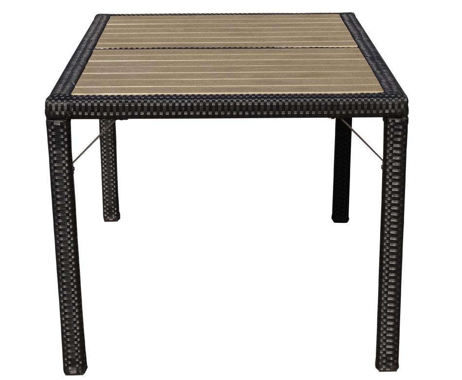 Poly Rattan Gartentisch Ariana Tisch Wpc Anthrazit 150x90cm