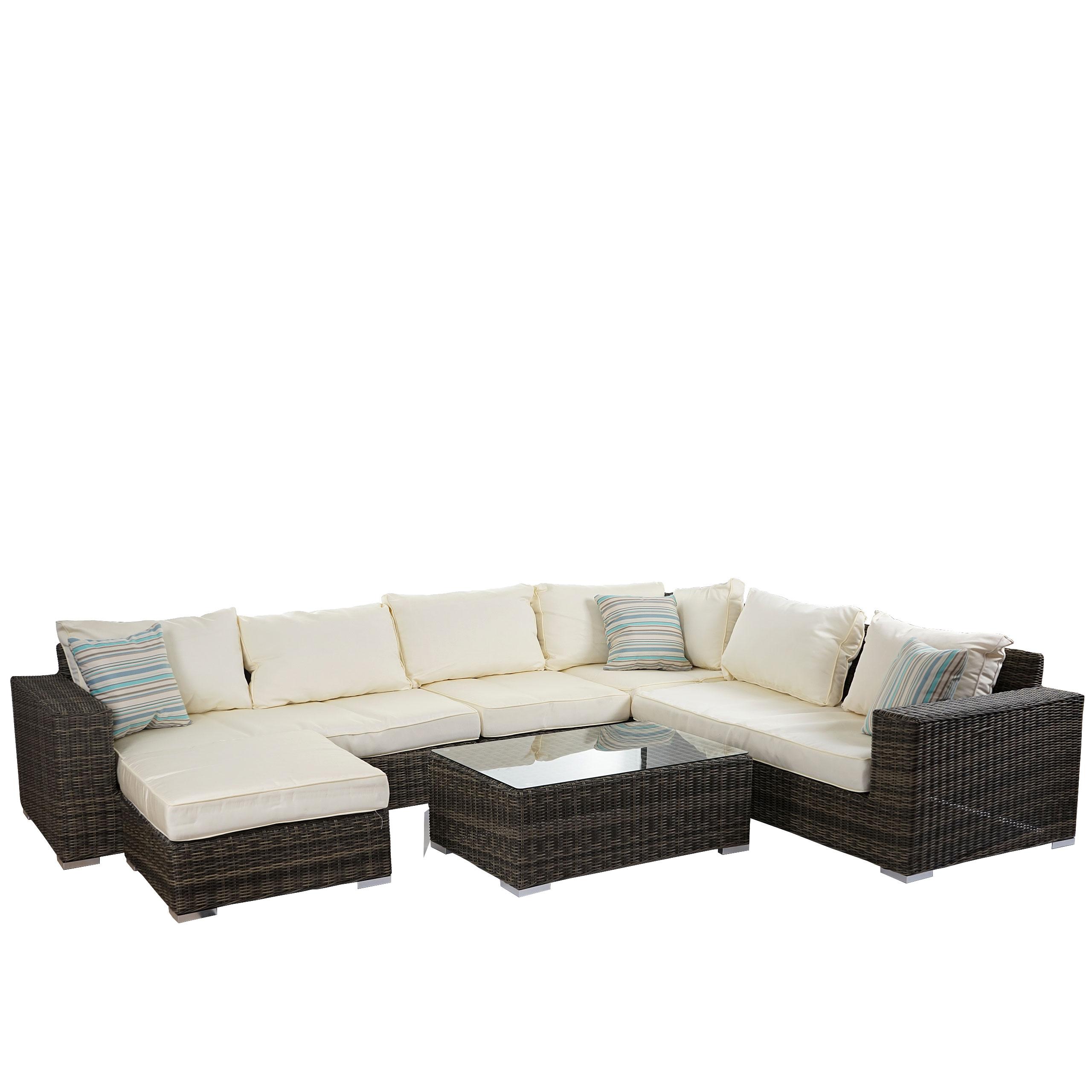 Luxus Poly Rattan Sofa Garnitur Melilla Lounge Set Alu Gestell