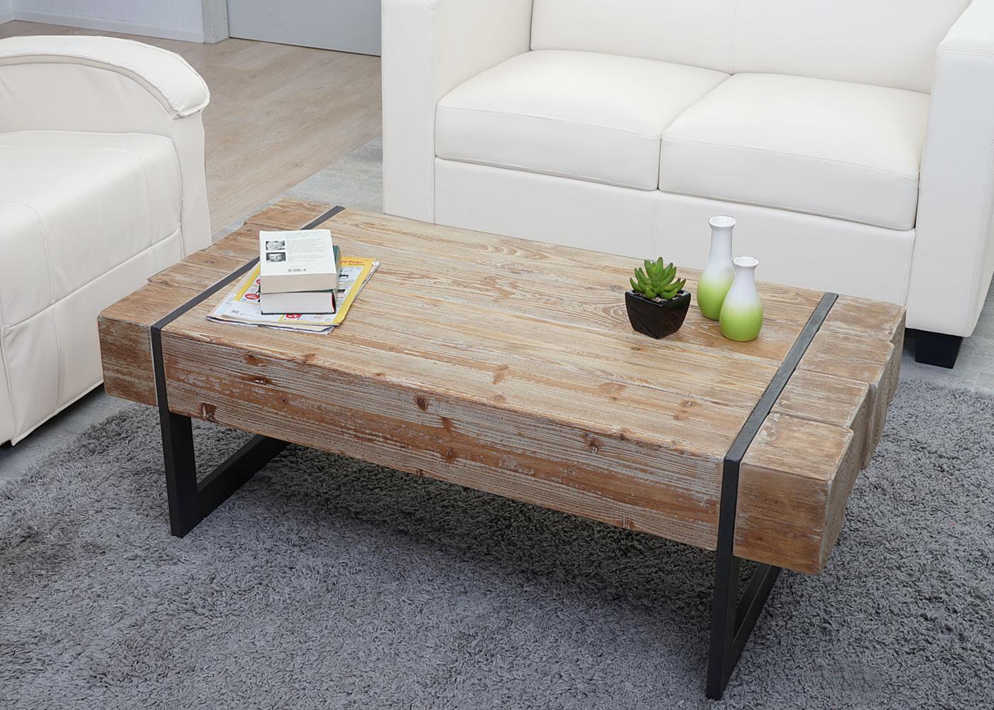Couchtisch HWC-A15a, Wohnzimmertisch, Tanne Holz rustikal massiv ...