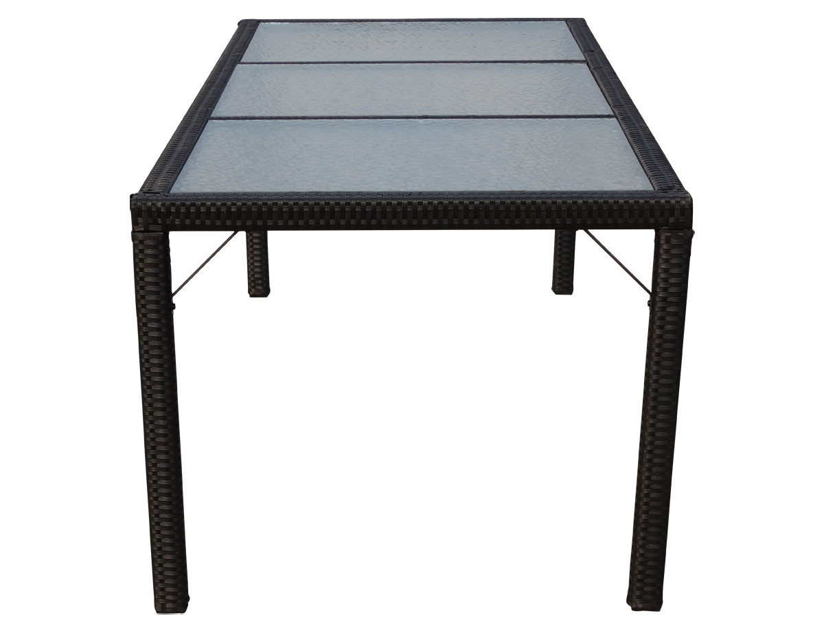 Poly Rattan Gartentisch Ariana Tisch Glas Anthrazit 190x90cm