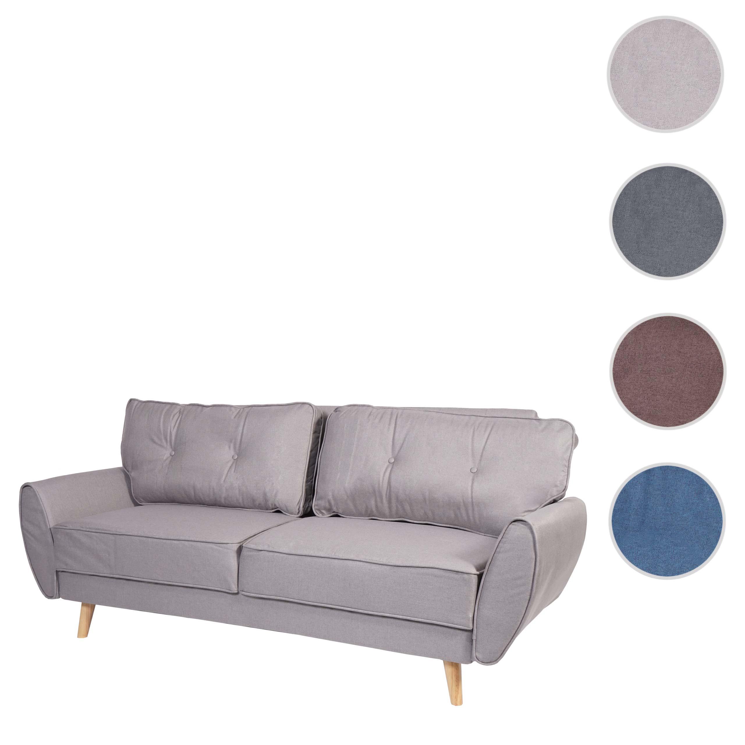 12er Sofa HWC J12, Couch Klappsofa Lounge Sofa, Schlaffunktion ~  Stoff/Textil grau