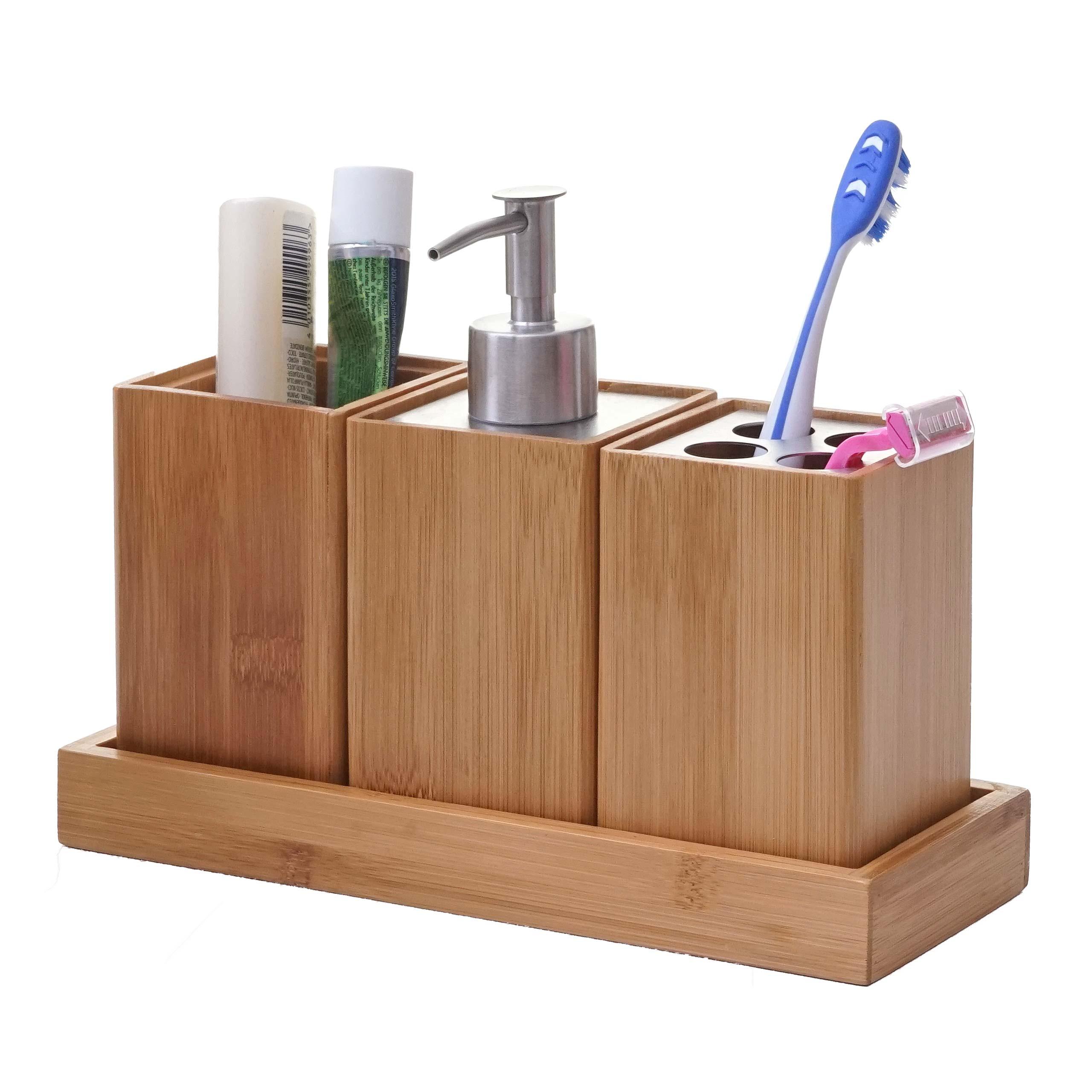 4-teiliges Badset HWC-B85, Badezimmerset Badaccessoires Seifenspender  Zahnbürstenhalter, Bambus