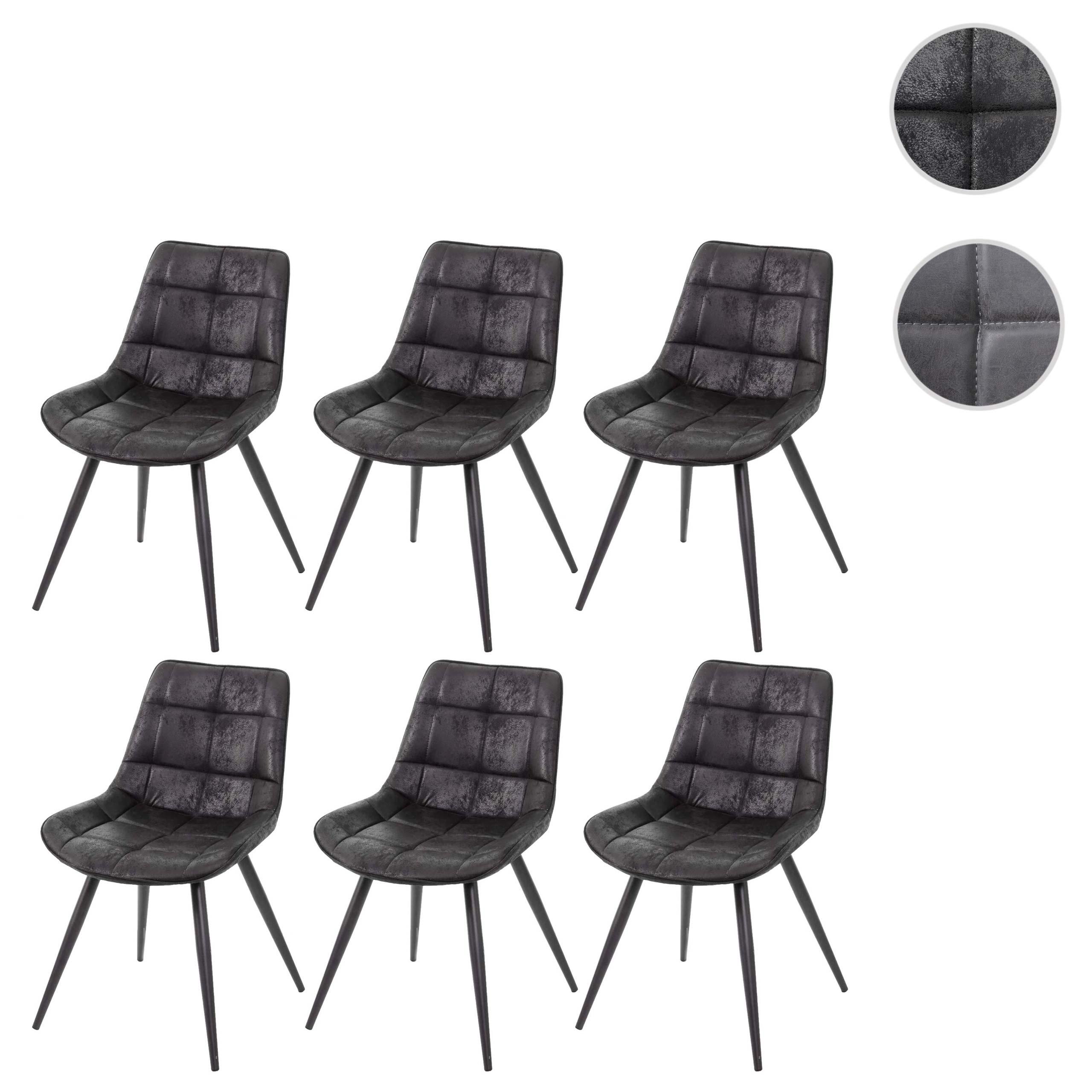6x Esszimmerstuhl HWC E57, Stuhl Cocktailstuhl Küchenstuhl Polsterstuhl, Retro Wildleder Optik