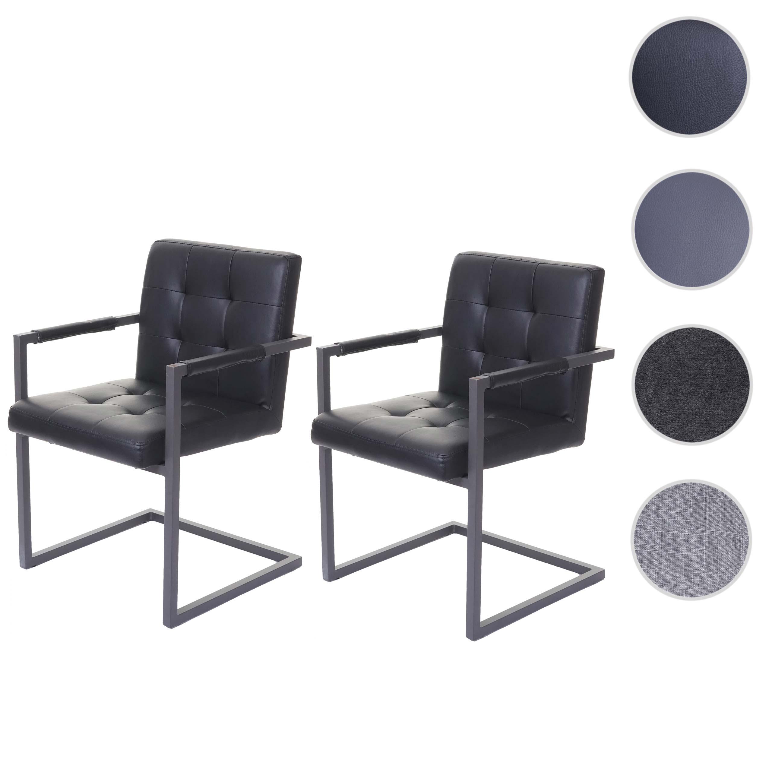 2x Esszimmerstuhl HWC-D33, Freischwinger Küchenstuhl, Vintage ' Kunstleder, grau