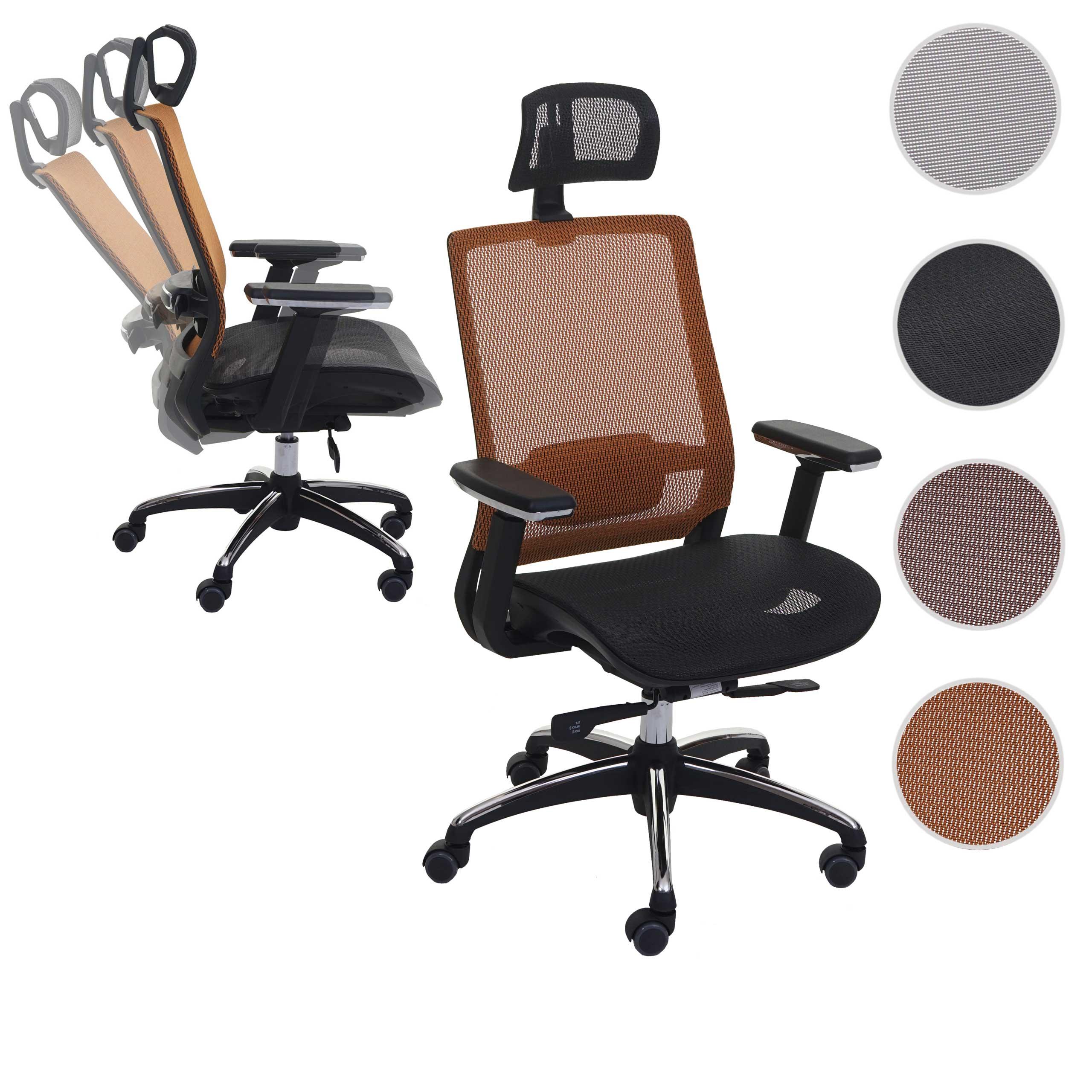 Bürostuhl HWC A20, Schreibtischstuhl, ergonomisch Kopfstütze StoffTextil ISO9001