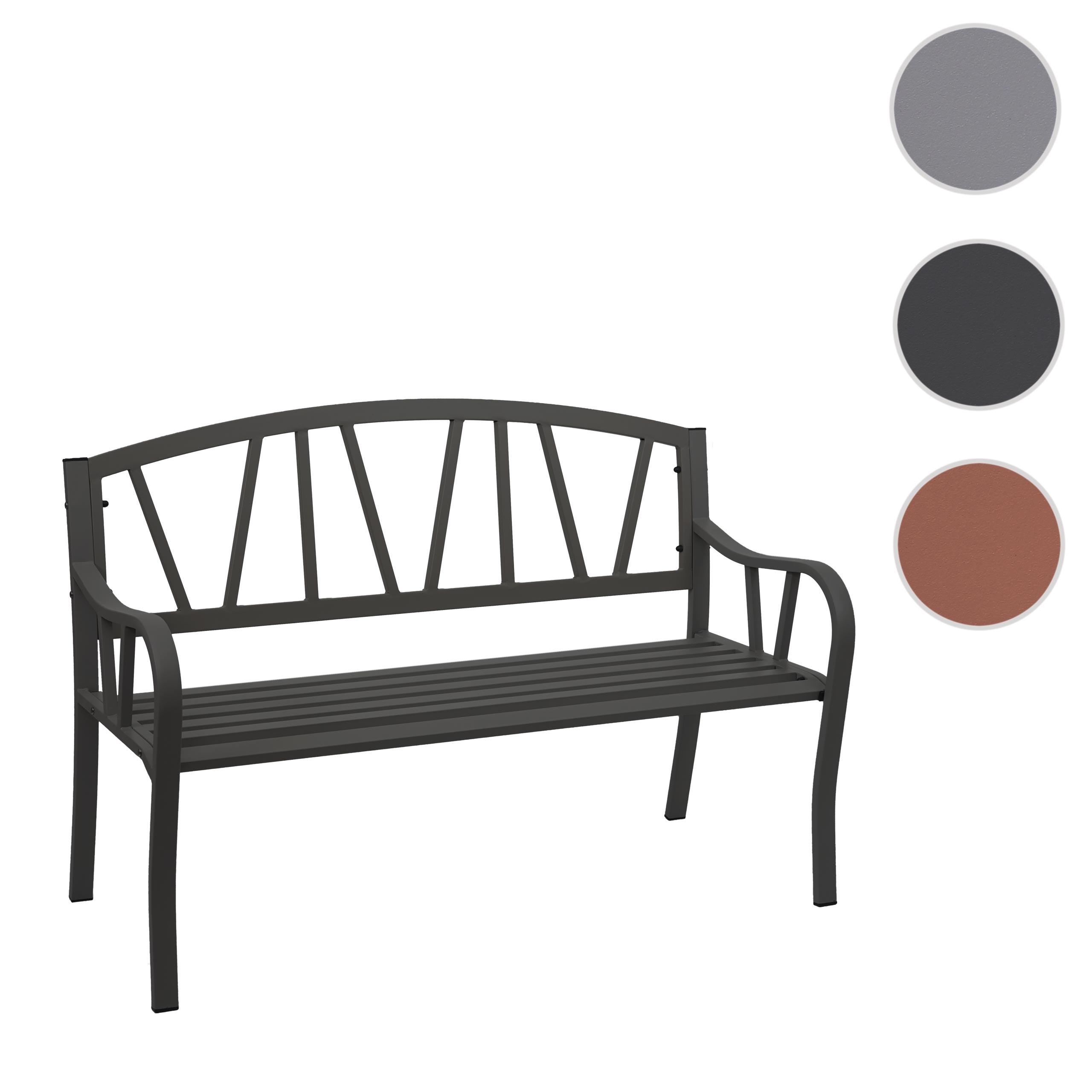 schwarz Gartenbank HWC-F43 Bank Parkbank 2-Sitzer pulverbeschichteter Stahl