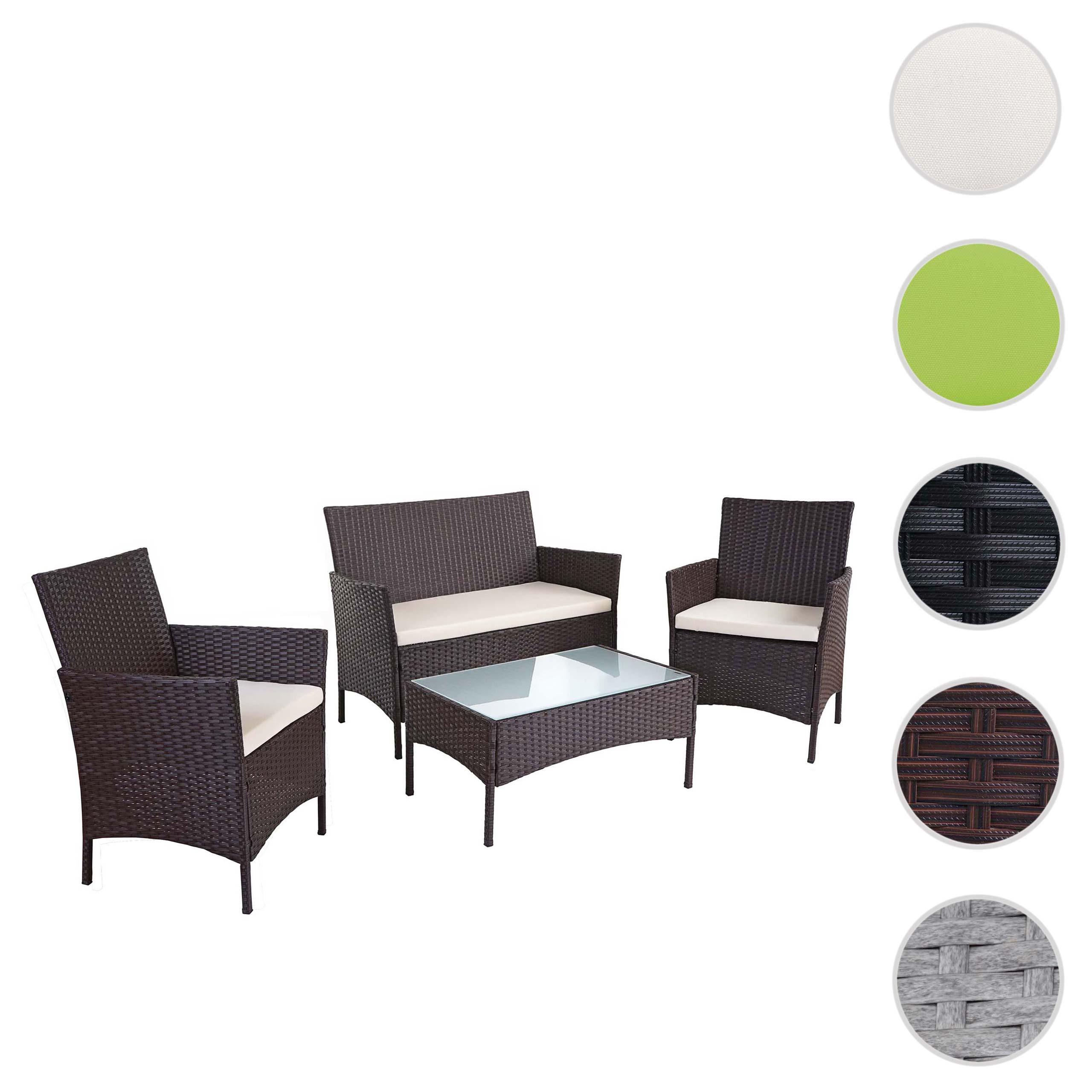 Gartenmöbel-Set 1 Tisch 2 Stühle mit Auflagen Lounge-Gruppe Rattan Korbdesign