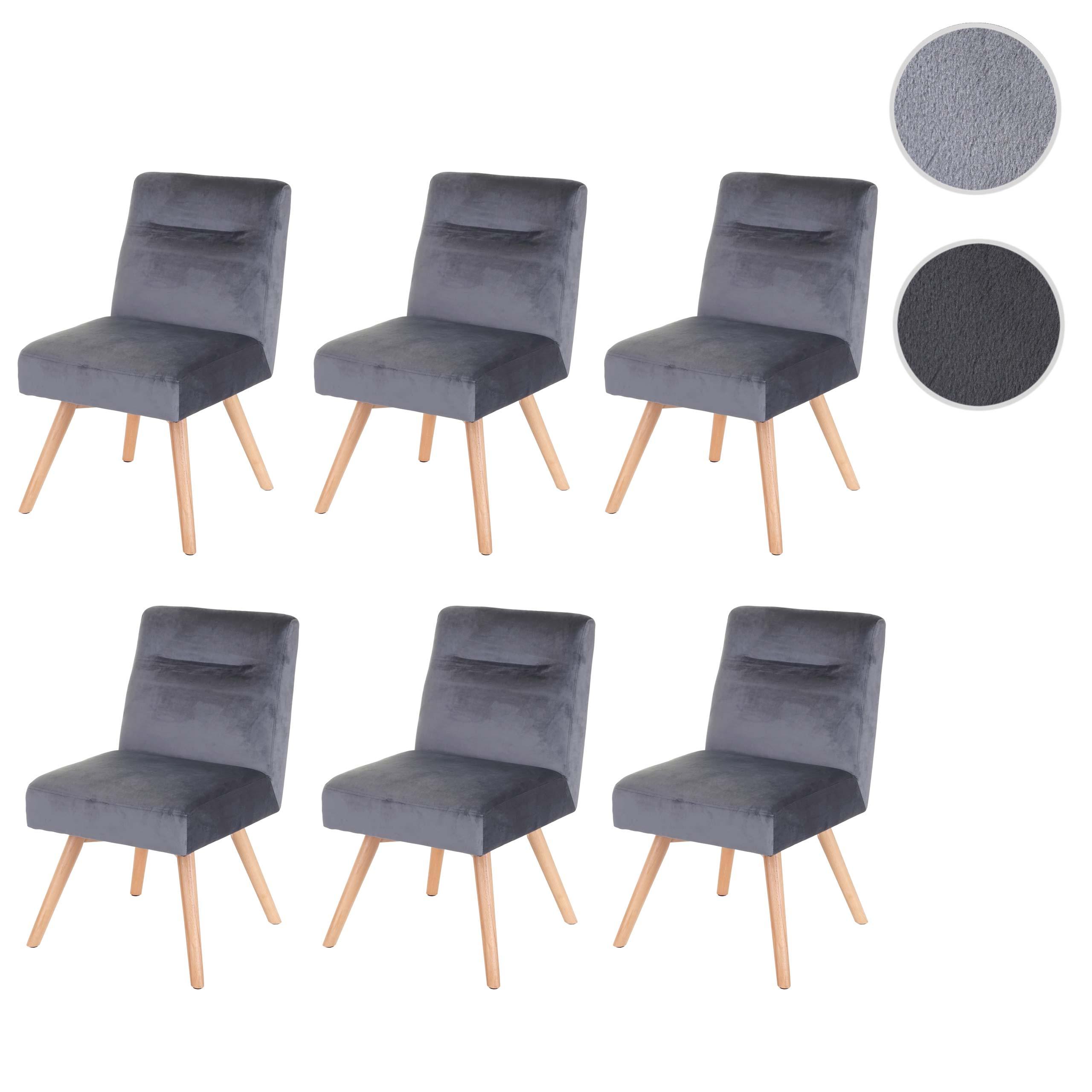6x Esszimmerstuhl HWC F38, Stuhl Küchenstuhl, Retro Design Samt