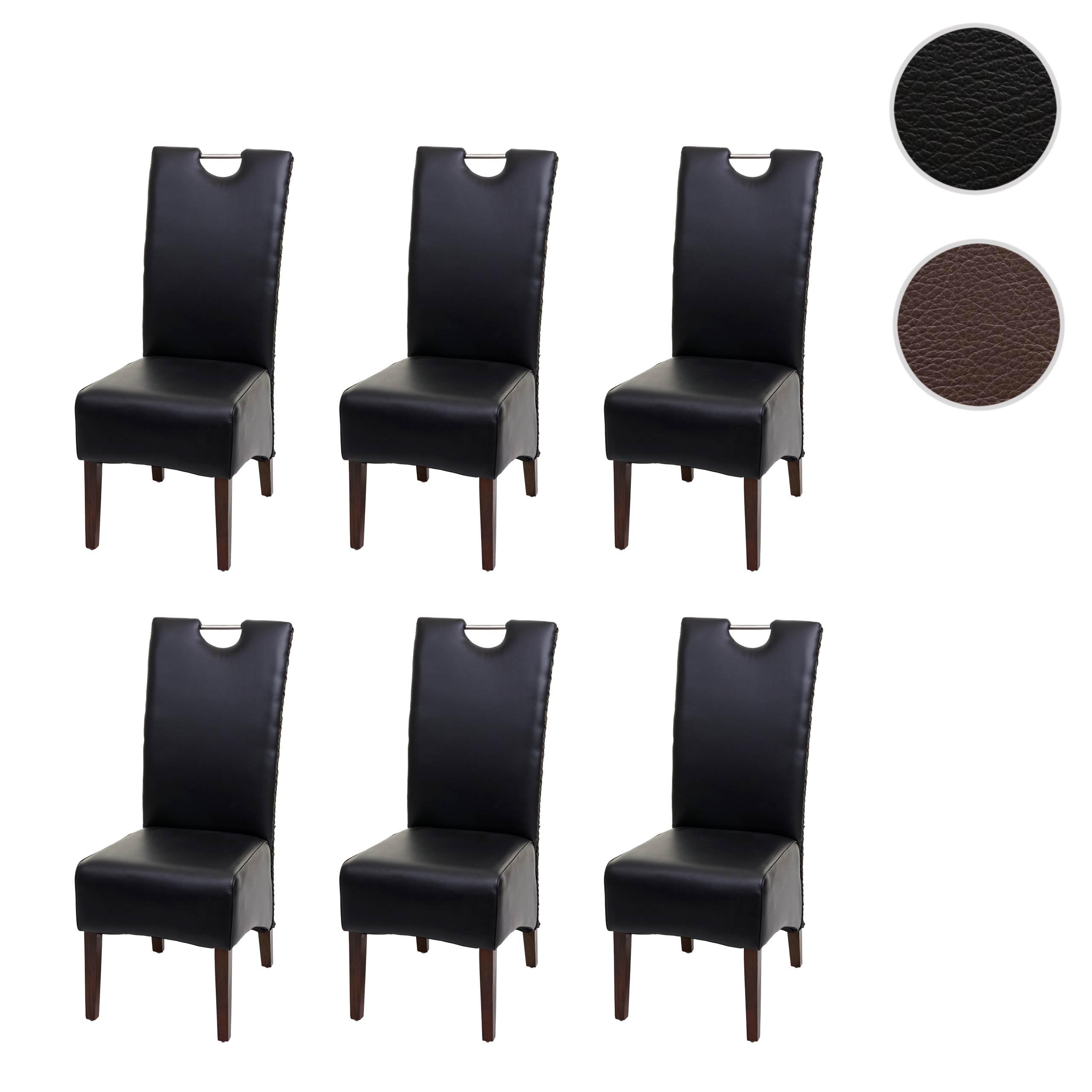 6x Esszimmerstuhl HWC H13, Küchenstuhl Stuhl, Kunstleder Massivholz echtes Rattan Korbgeflecht