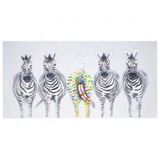Ölgemälde Zebras II, 100% handgemaltes Wandbild Gemälde XL, 140x70cm - Vorschau 4