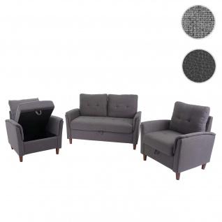 2-1-1 Couchgarnitur HWC-H23, 2er Sofa Sofagarnitur Loungesessel Relaxsessel, Gastronomie Staufach ~ Stoff/Textil, grau