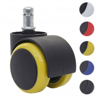 5x Hartbodenrollen HWC-H86, Bürostuhl-Rollen Stuhlrollen, 150kg belastbar 50mm ~ gelb