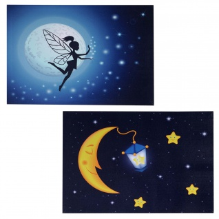 2x LED-Bild Leinwandbild Leuchtbild Wandbild 40x60cm, Timer ~ Kids + 20 Bildpunkte