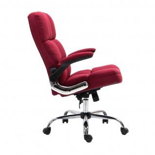 Bürostuhl HWC-J21, Chefsessel Drehstuhl Schreibtischstuhl, höhenverstellbar ~ Stoff/Textil weinrot - Vorschau 3