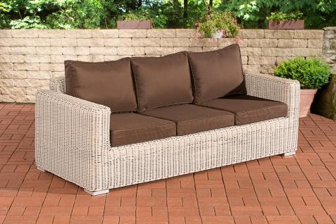 3er Sofa CP053, 3-Sitzer, Poly-Rattan ~ Kissen terrabraun, perlweiß