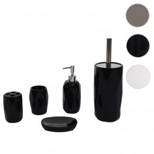 5-teiliges Badset HWC-H88, WC-Garnitur Badezimmerset Badaccessoires, Keramik ~ schwarz