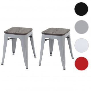 2x Hocker HWC-A73 inkl. Holz-Sitzfläche, Metallhocker Sitzhocker, Metall Industriedesign stapelbar ~ grau