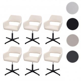 6x Esszimmerstuhl HWC-A50 IV, Stuhl Küchenstuhl, Retro höhenverstellbar Drehmechanismus ~ Kunstleder creme, Fuß schwarz