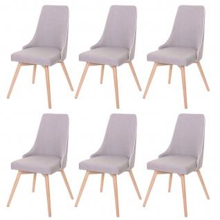 6x Esszimmerstuhl HWC-B44, Stuhl Küchenstuhl, Retro 50er Jahre Design Stoff/Textil grau - Vorschau 2