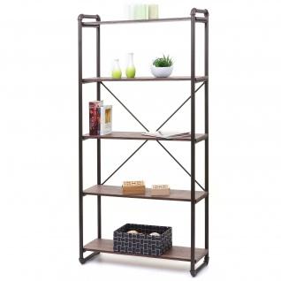 Bücherregal HWC-F58, Standregal Wohnregal, Industriedesign 165x80cm 3D-Struktur ~ braun Wildeiche-Optik