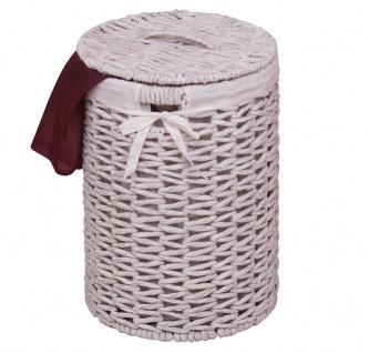 Wäschekorb H146, Wäschesammler, Wasserhyazinthe handgeflochten, 46x32x32cm ~ weiß