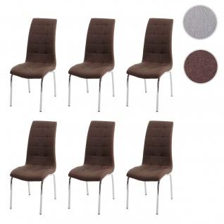 6x Esszimmerstuhl HWC-F29, Stuhl Küchenstuhl, Kunstleder Stoff/Textil ~ braun