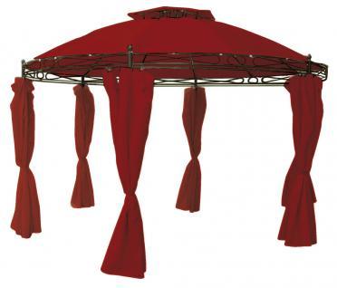 Pavillon LD46, Gartenpavillon Gartenzelt, inkl. Seitenteile, rund, Ø=3, 5m bordeaux