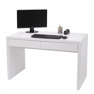 Schreibtisch HWC-G51, Bürotisch Computertisch Arbeitstisch, Hochglanz Weiß ~ 120x60cm