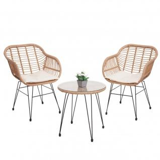 Poly-Rattan Garnitur HWC-G17, Balkon-Set Gartengarnitur Sitzgarnitur Sitzgruppe Stuhl ~ naturfarben, Kissen creme - Vorschau 2