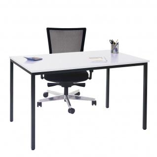 Schreibtisch Braila, Konferenztisch Bürotisch Seminartisch, 160x80cm MDF ~ weiß - Vorschau 2