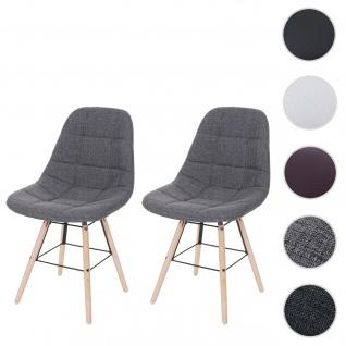 2x Esszimmerstuhl HWC-A60 II, Stuhl Küchenstuhl, Retro 50er Jahre Design ~ Stoff/Textil grau